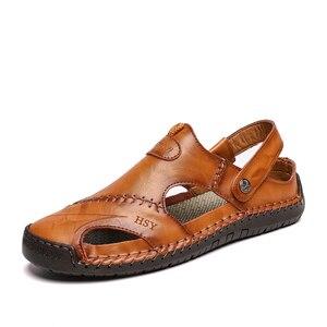 Image 3 - חדש גברים עור סנדלי קיץ זכר נעלי חוף סנדלי איש אופנה נוח חיצוני מקרית סניקרס קלאסי גברים נעלי Size48