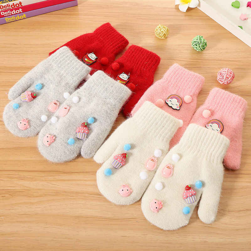 Star Soft Lovely Warm Kids Gloves Knitting Mittens Whole Covered Candy Color