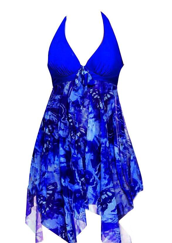 Mesh Women Tankini Swimdress Plus Size Swimwear 5XL One Piece Large Size Swimsuit With Skirt Push Up Halter Bathing Suit  (7)