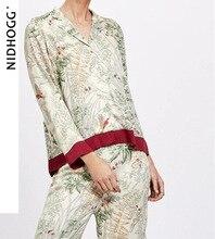 Летние повседневные брюки с отложным воротником и длинным рукавом, пижама, женская одежда для отдыха, Пижама для женщин, пикантная Пижама, шелковая одежда для сна с принтом