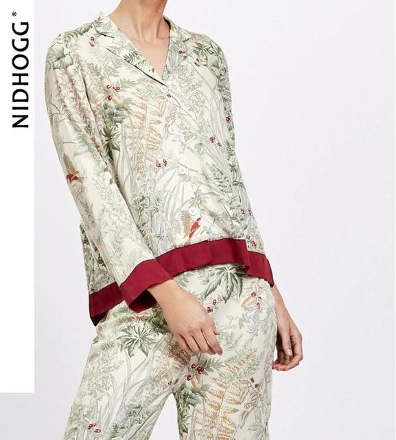 """Mùa Hè Cổ Bẻ Nữ Tay Dài Quần Dài Pijama Mujer """"Loungewear Sexy Nữ Pyjamas Lụa In đồ Ngủ"""