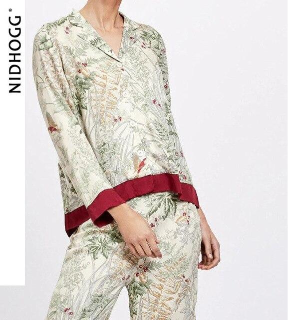 Summer Turn down Collar Casual Long sleeved Trousers Pijama Mujer Loungewear Pajamas for Women Sexy Pyjamas Silk Print Sleepwear