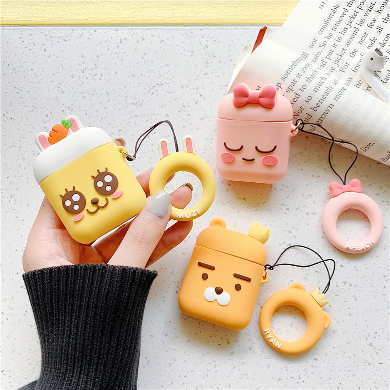 For AirPod 2 Case 3D Carrot Bow Rabbit Lion Cartoon Soft Silicone Earphone Cases For Apple Airpods Case Cute Cover Funda