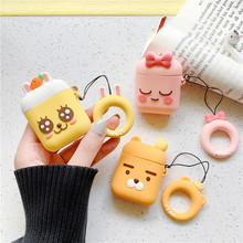 For AirPod 2 Case 3D Carrot Bow Rabbit Lion Cartoon Soft Silicone Earphone Cases Apple Airpods Cute Cover Funda
