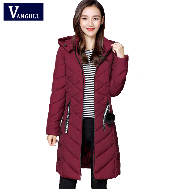 Vangull Black Winter Jackets Women Long Thick Warm   Parka   Coat Female Fashion Slim Hooded Cotton Padded 2019 New Jacket for Women