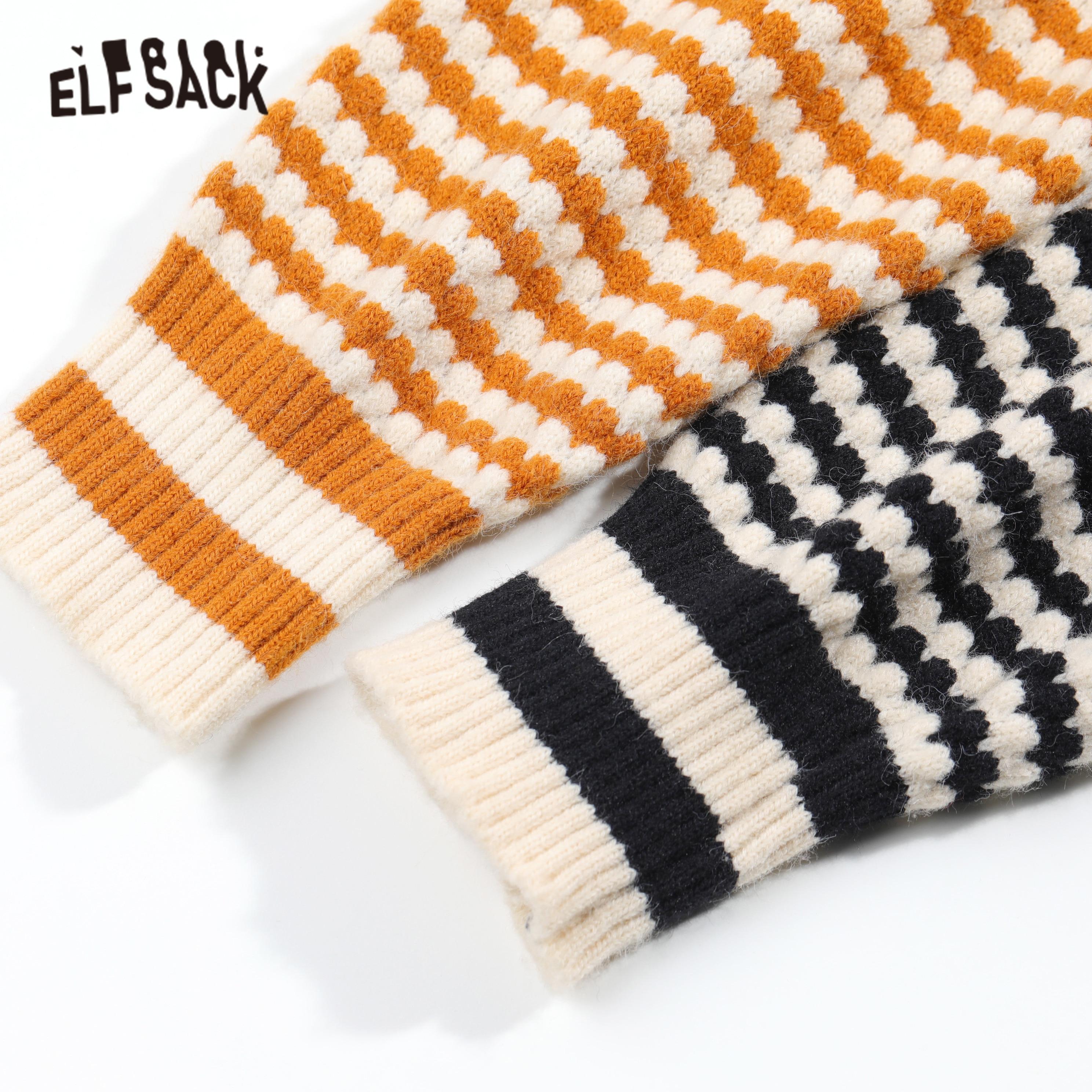 ELFSACK, Jersey informal de punto con rayas negras, conjuntos a juego para mujer, trajes elegantes de dos piezas con cintura elástica amarilla de primavera 2020 para mujer - 4