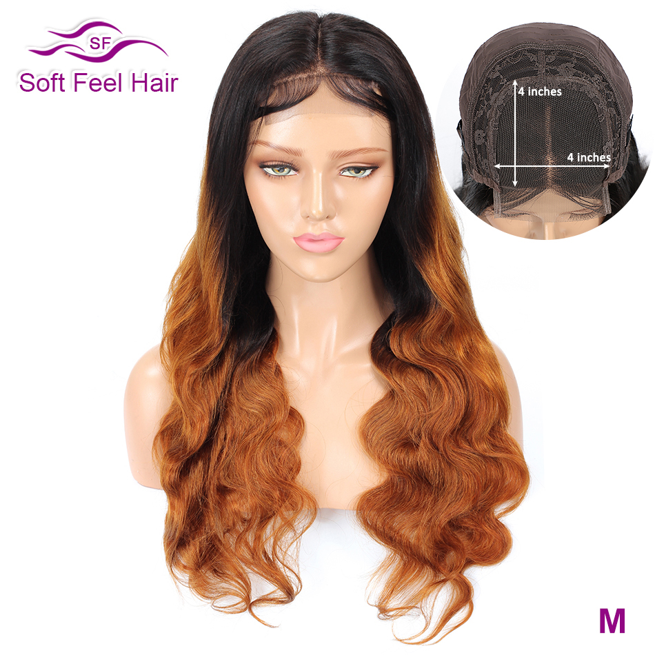 4*4 Lace Closure Wig Soft Feel Hair Ombre Lace Closure Human Hair Wigs For Black Women Remy Brazilian Body Wave Wig Middle Ratio