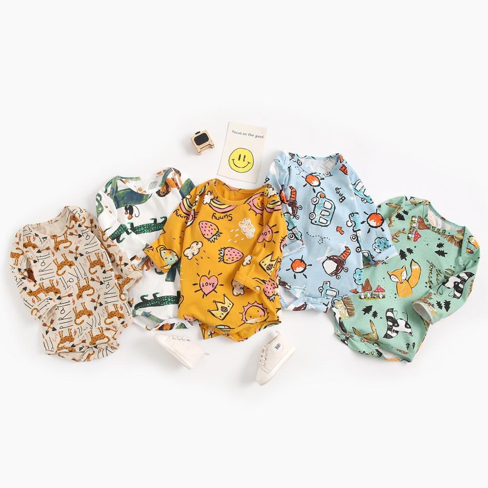 Sanlutoz Baumwolle Baby Jungen Bodys Cartoon Baby Kleidung für Neugeborene Lange Ärmeln Baby Bodysuit Nette Mode