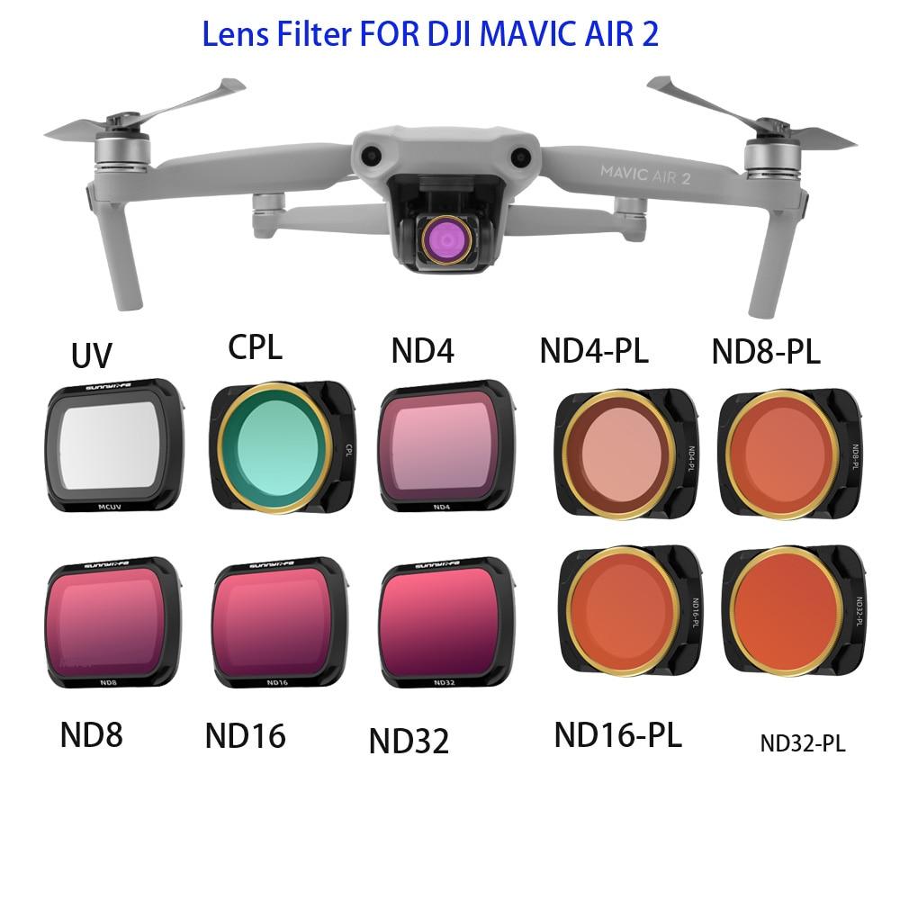 DJI Mavic Air 2 Lens Filter MCUV CPL ND PL Filters ND16 ND32 ND4-PL ND8-PL Filter Kit for DJI Mavic Air 2 Drone Accessories