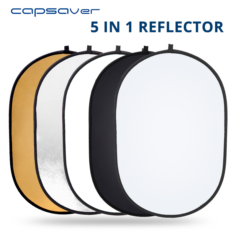 Capsaver 60*90cm Foldable Reflector 5 In 1 Multi Disc Photo Reflector 24*35 Inch Portable Oval Light Diffuser Photography