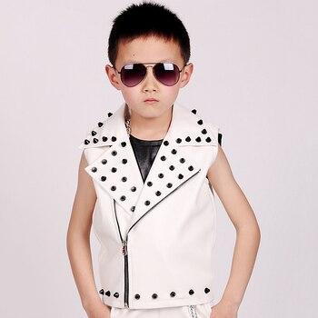 Hip Hop Costumes White Studded Leather Vest Coat Jacket Children Jazz Stage Performance Clothing Boys Street Dance Wear DN5148