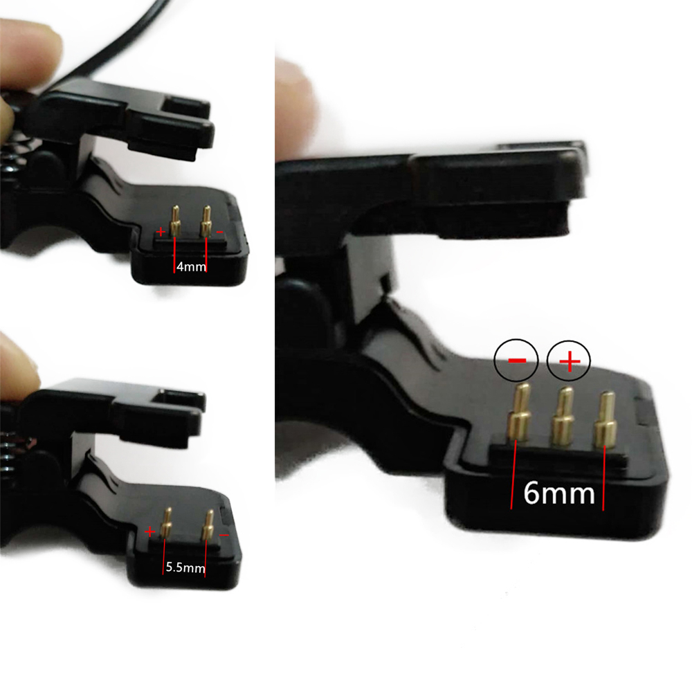 New TW64 68 For Smart Watch Universal USB Charging Cable Charger Clip 2/3 Pins Space Between 4/5.5/6 Mm Black