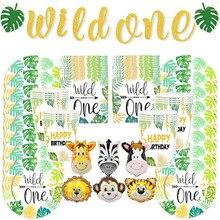 Dzikie 1. Dekoracje na imprezę urodzinową jednorazowe zastawy stołowe talerze serwetka na kubek dżungla Safari urodziny przybory dla niemowląt