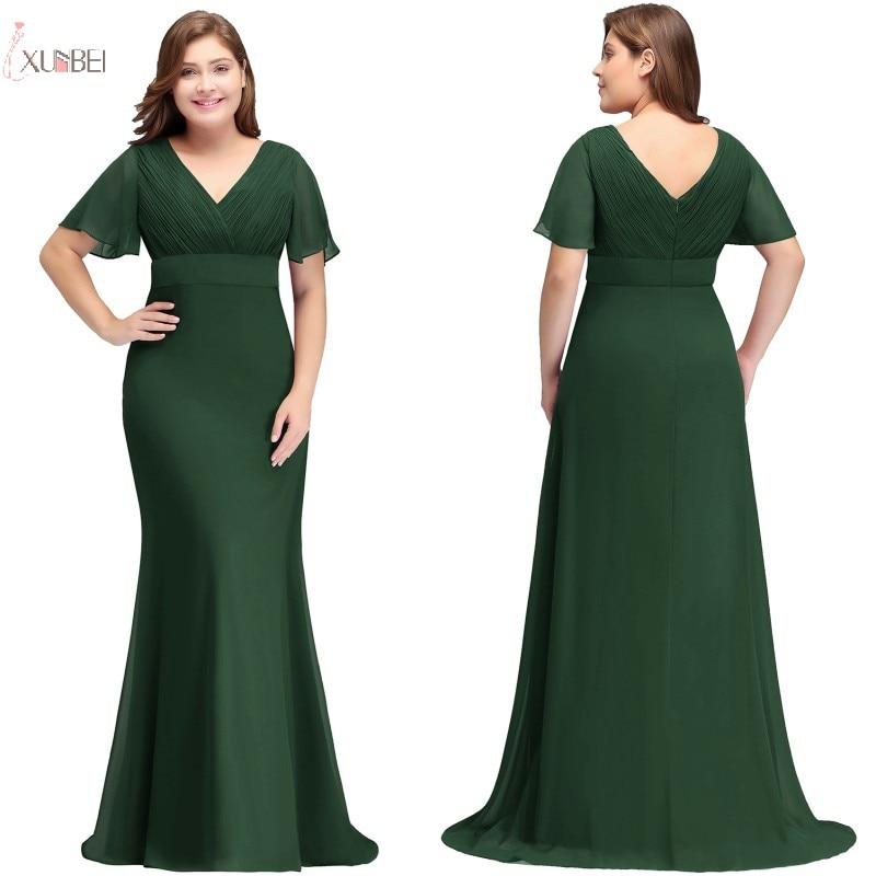 2019 Chiffon Mermaid Plus Size Long Prom Dresses V Neck Short Sleeve Gown Vestidos De Gala
