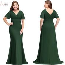 2019 Chiffon Mermaid Plus Size Long Prom Dresses V Neck Shor
