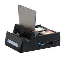 Портативная док станция для телевизора, преобразователь HDMI, зарядная базовая станция, встроенный слот для карты, аксессуары для консоли Nintendo Switch