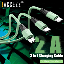 цена на !ACCEZZ 3 in 1 USB Cable For iPhone 11 XS Pro Max 8 Plus Samsung S10 Xiaomi Redmi Note 5 USB C 8 Pin Android Charging Cable Cord