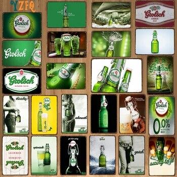【Yzfq】 grolsch Lager piwo dekoracyjne znaki holenderskie piwo metalowe płytki na pasek ścienny strona główna restauracja artystyczna dekoracja 30x20cm DU-9120B