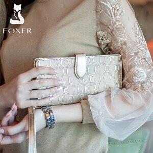 Image 3 - FOXER ماركة المرأة طويلة جلد البقر محافظ السيدات حقائب يد مصمم الشهيرة المحافظ النساء محفظة محفظة جلد البقر الإناث