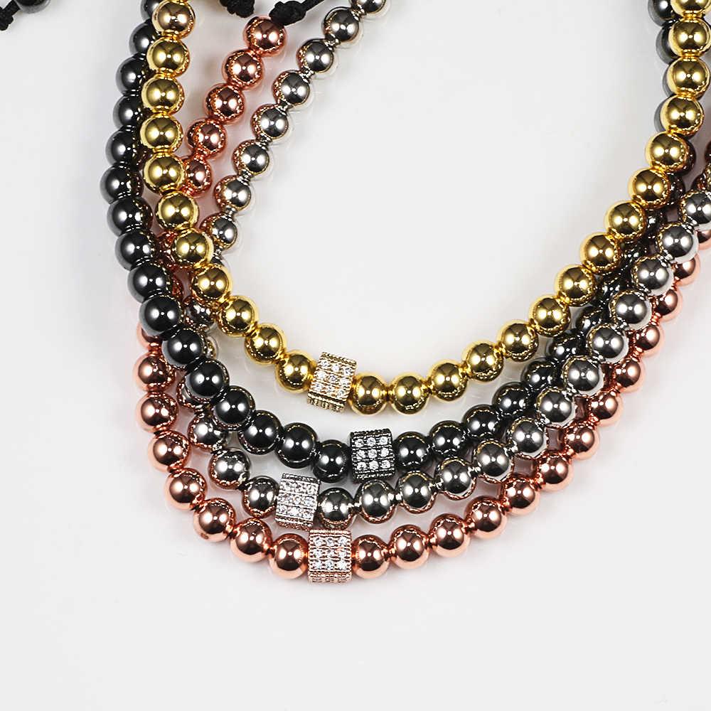 Nowi mężczyźni bransoletka Micro Pave CZ kwadratowe miedziane koraliki bransoletki bransoletki regulowana pleciona lina moda damska biżuteria na prezent Pulseira