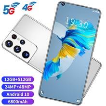 S21 ultra 7.3 Polegada smartphone 6800mah desbloquear versão global 4g/5g android 10.0 24mp + 48mp 12gb + 512gb celulares telefone inteligente