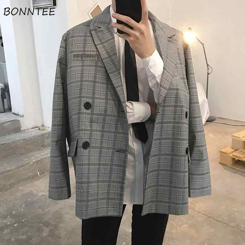 Blazers Mannen Plaid Double Breasted Zakken Oversized Losse Unisex Fashion Casual Ins Britse Stijl Heren Pakken Streetwear All-Match