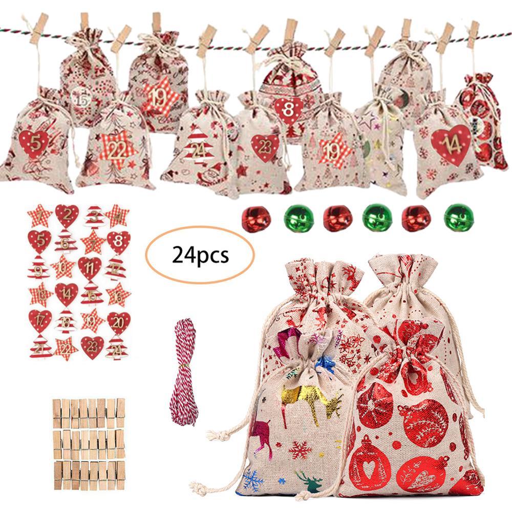 24 pcs Christmas Advent Calendar Garland Xmas Hanging Gift Paper Bags Banner