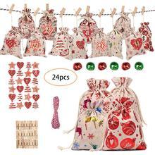 24 шт рождественские подарочные пакеты с календарем обратного отсчета джутовый мешок для хранения конфет DIY Рождественский Адвент-календарь сумка с календарем avent
