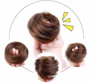 Bun Hair-Bag Hair-Extensions Human-Hair Donut Chignon Elastic