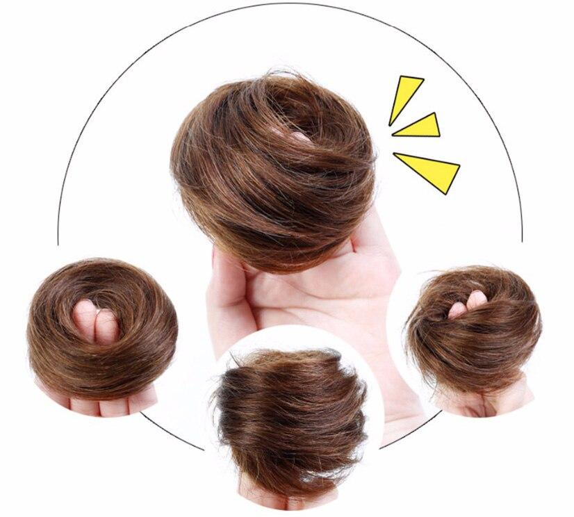 Brazilian Hair Remy Hair Bun Elastic Donut Hair Bag Human Hair Chignon Bun Hair Extensions Chignon Hair Weave Pieces
