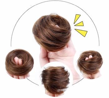 Brazilian Hair Remy Hair Bun Elastic Donut Hair Bag Human Hair Chignon Bun Hair Extensions Chignon Hair Weave Pieces hair