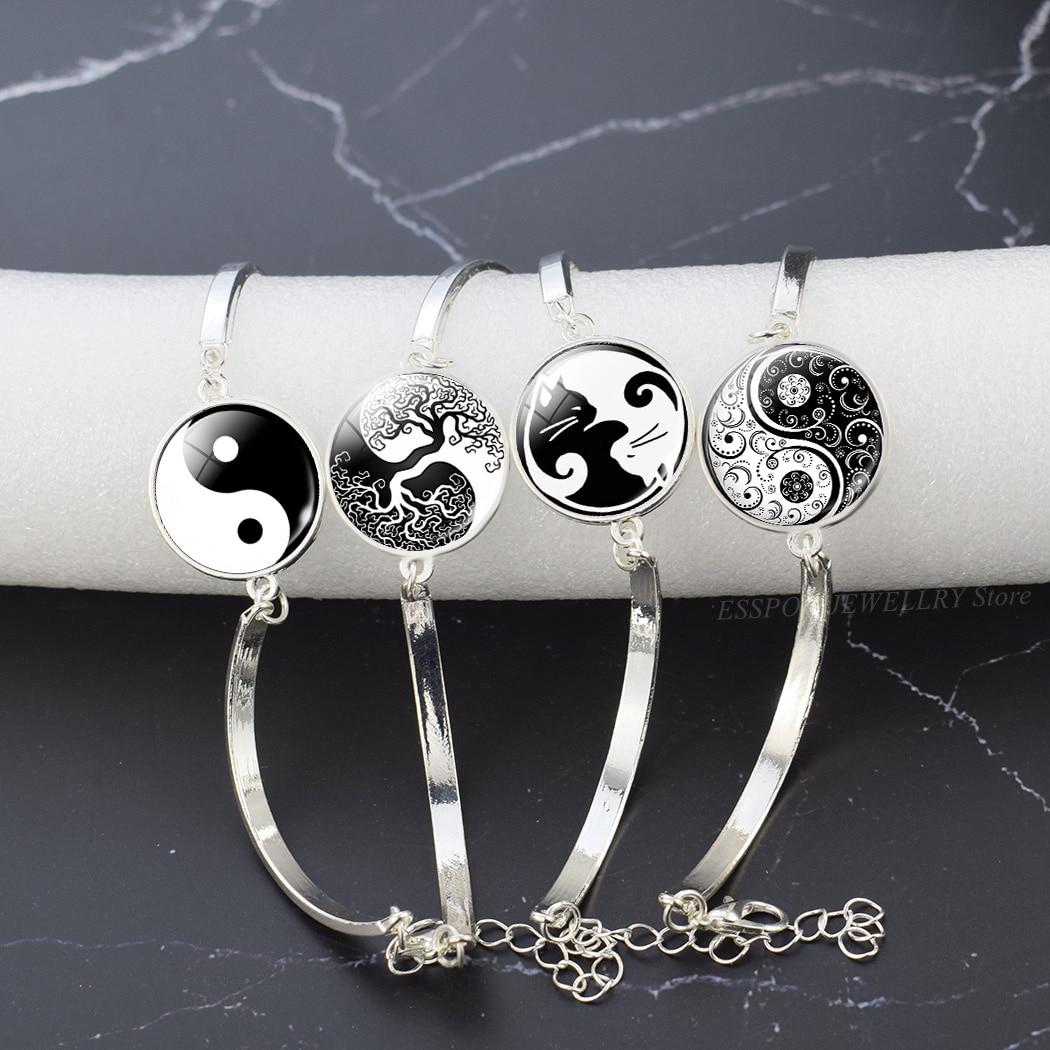 Yin Yang Taichi Symbols Bangle Tree of Life Glass Cabochon Jewelry Gossip Silver Bracelet Chain Women Gift