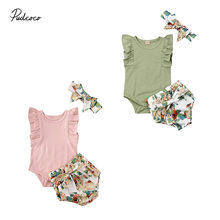 Pudcoco US Stock Newborn Infant Baby Girls Clothes Set Ruffle Sleeve Romper Flower Shorts Summer Clothes For Kids Girl 0-2Y(China)