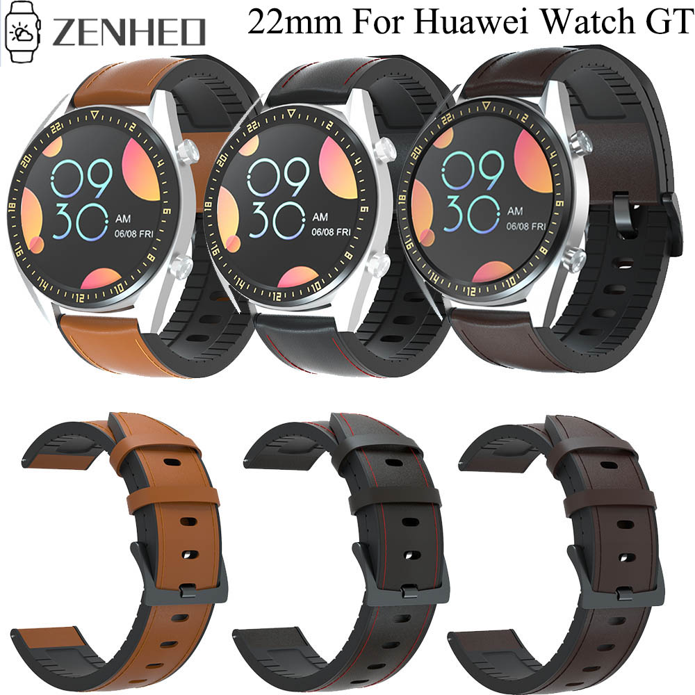 22mm Silicone Leather Strap Watchband For Samsung Gear S3 Wristband For Huawei Watch GT GT2 Watchband For Huami Amazfit GTR 47mm