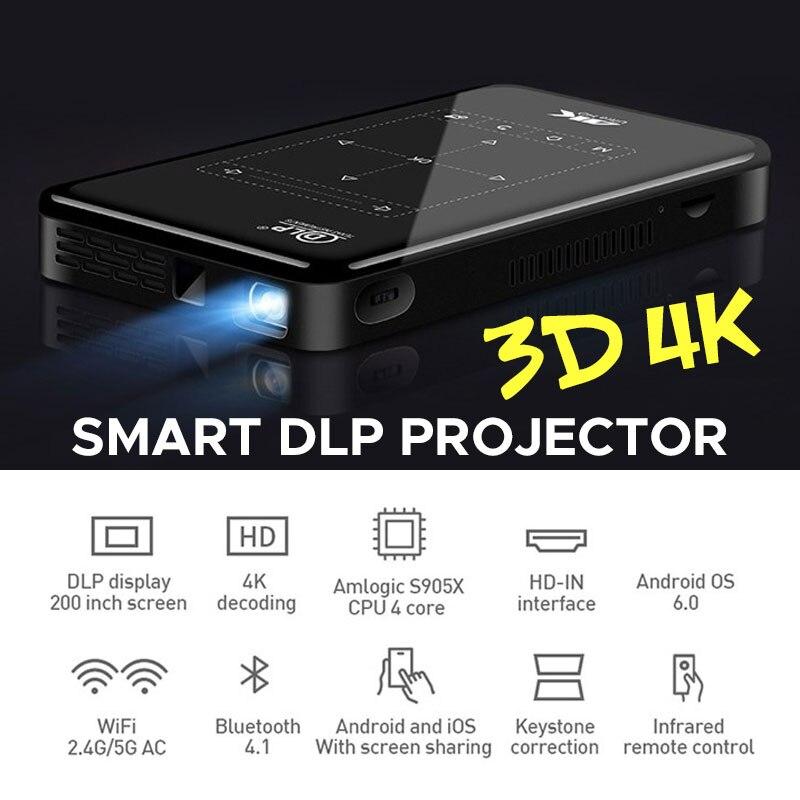4K MINI projecteur Android 6.0 Smart DLP projecteur (RAM1G + ROM8G) WIFI bluetooth 4.1 pour 1080P Home Cinema Portable 3D vidéo Beamer