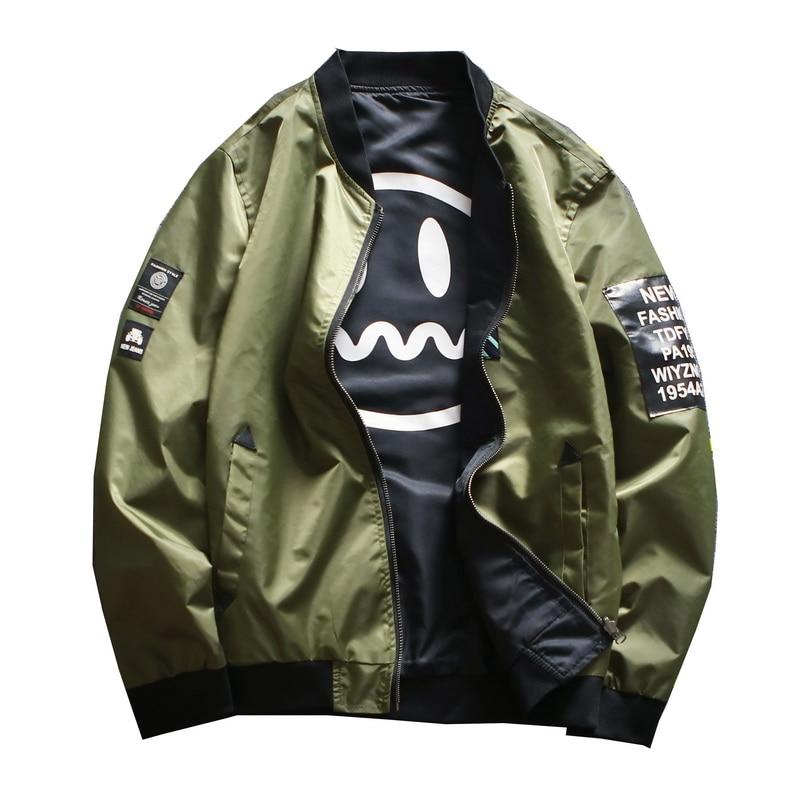 Man Both Side Wear Pilot Bomber Jacket With Patches Army Green Baseball Jacket Male Windbreaker Streetwear Plus Size M-4XL,GA451