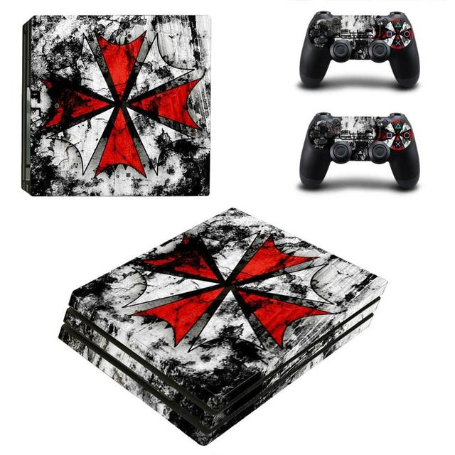 Biohazardร่มPS4 Proสติกเกอร์ผิวสำหรับPlayStation 4 คอนโซลและตัวควบคุมสำหรับDualshock PS4 Proสติกเกอร์รูปลอกไวนิล