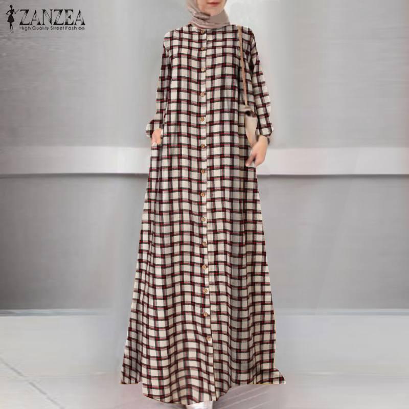 Casual Islamic Clothing Robe Muslim Fashion Dress Spring Maxi Long Dress Women Long Sleeve Button ZANZEA Vintage Hijab Sarafans 3