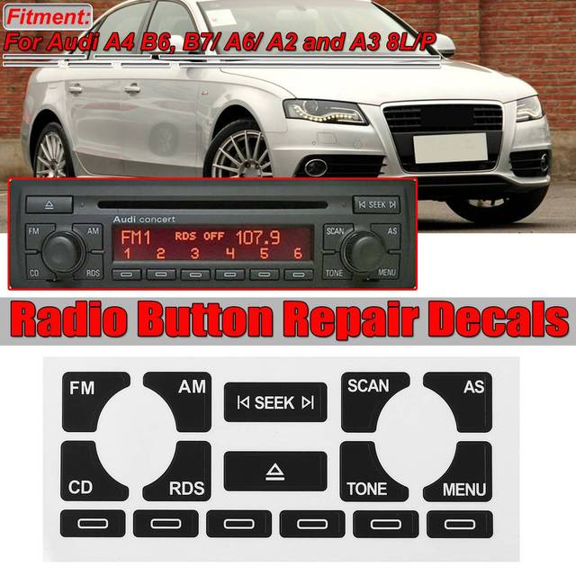 AS / TP voiture multimédia Radio stéréo usé Peeling bouton réparation décalcomanies autocollants pour Audi A4 B6 B7/ A6/ A2 A3 8L/P Fix moche bouton