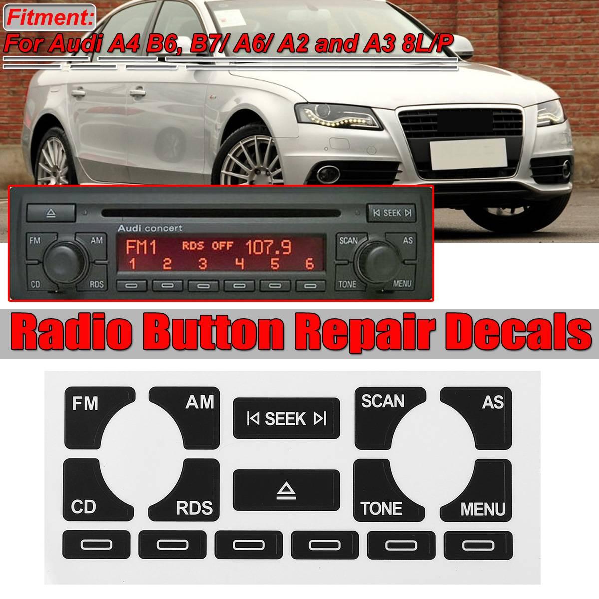 AS/TP voiture multimédia Radio stéréo usé Peeling bouton réparation autocollants pour Audi A4 B6 B7/A6/A2 A3 8L/P Fix moche bouton