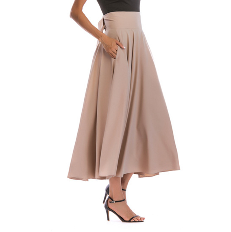 2020 New Fashion Women Long Skirt Casual Spring Summer Skirt womens Elegant Solid Bow-knot A-line Maxi Skirt Women Cothes 37