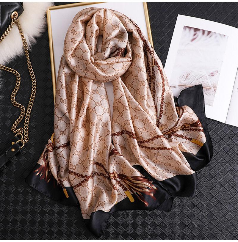 2020 Classic Women Silk Scarf Female Scarves Ladies Beach Wrap Chiffon Shawl Chain Printed Sunscreen Bandanna Foulard Muffler