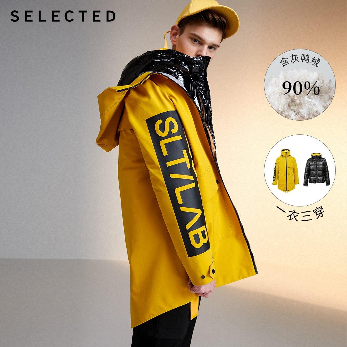 SELECTED Winter Letter Print Detachable Outwar Two-piece Down Jacket Men's New Coat L|419412556