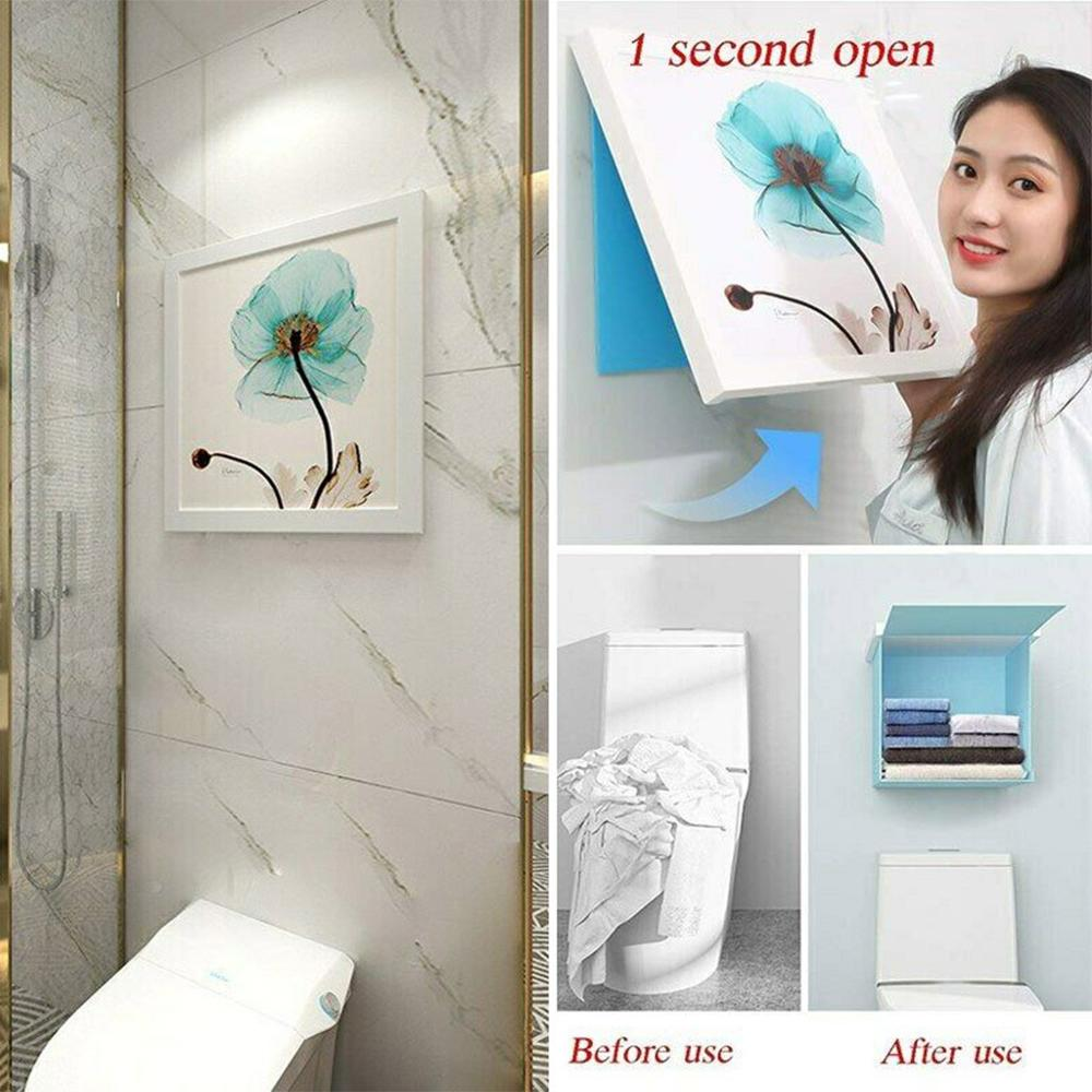 Wall Mounted Hidden Multifunction Bathroom Mural Storage Organiser Space Savers Bathroom shelf save space
