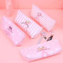 1pcs/sell Kawaii Pencil Case Halloween canvas cute Pink Panther pattern School Supplies Student Stationery Christmas Gift