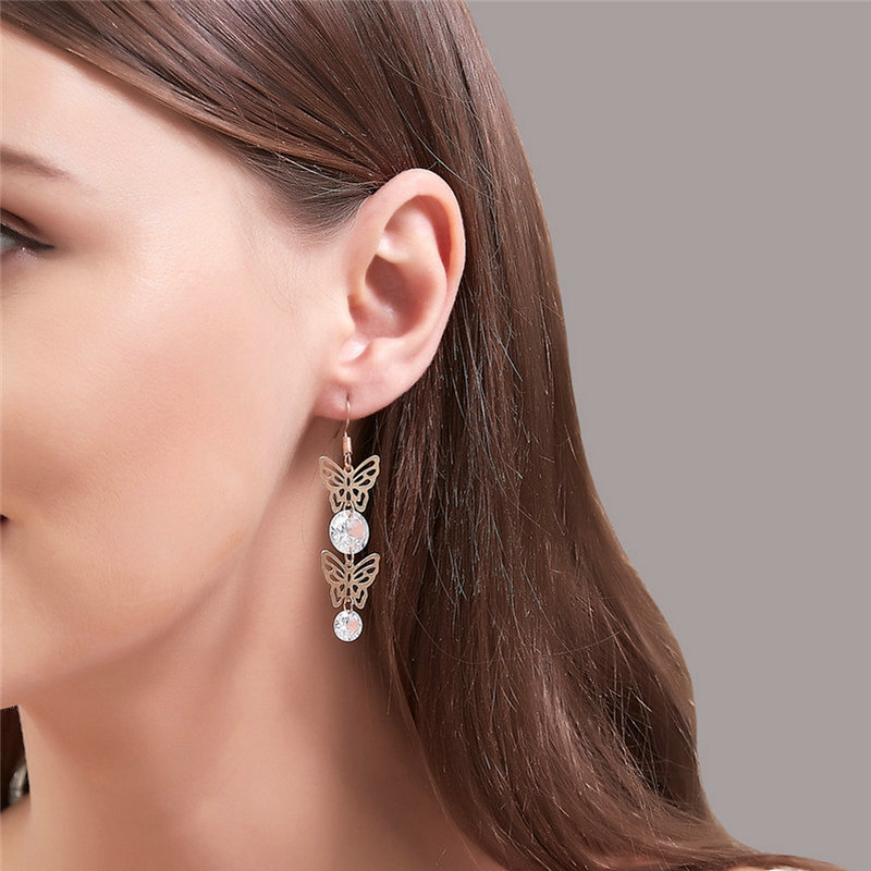 Female pure and fresh fashion hollow out butterfly earring, gorgeous ornament charming party choice Long Rhinestone adorn Gift