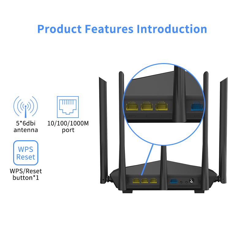 TD Digital Router AC11 Gigabit Version 2.4GHz 5GHz WiFi AC1200M With 5*6dBi High Gain Antennas Wider Coverage,Global Version 2