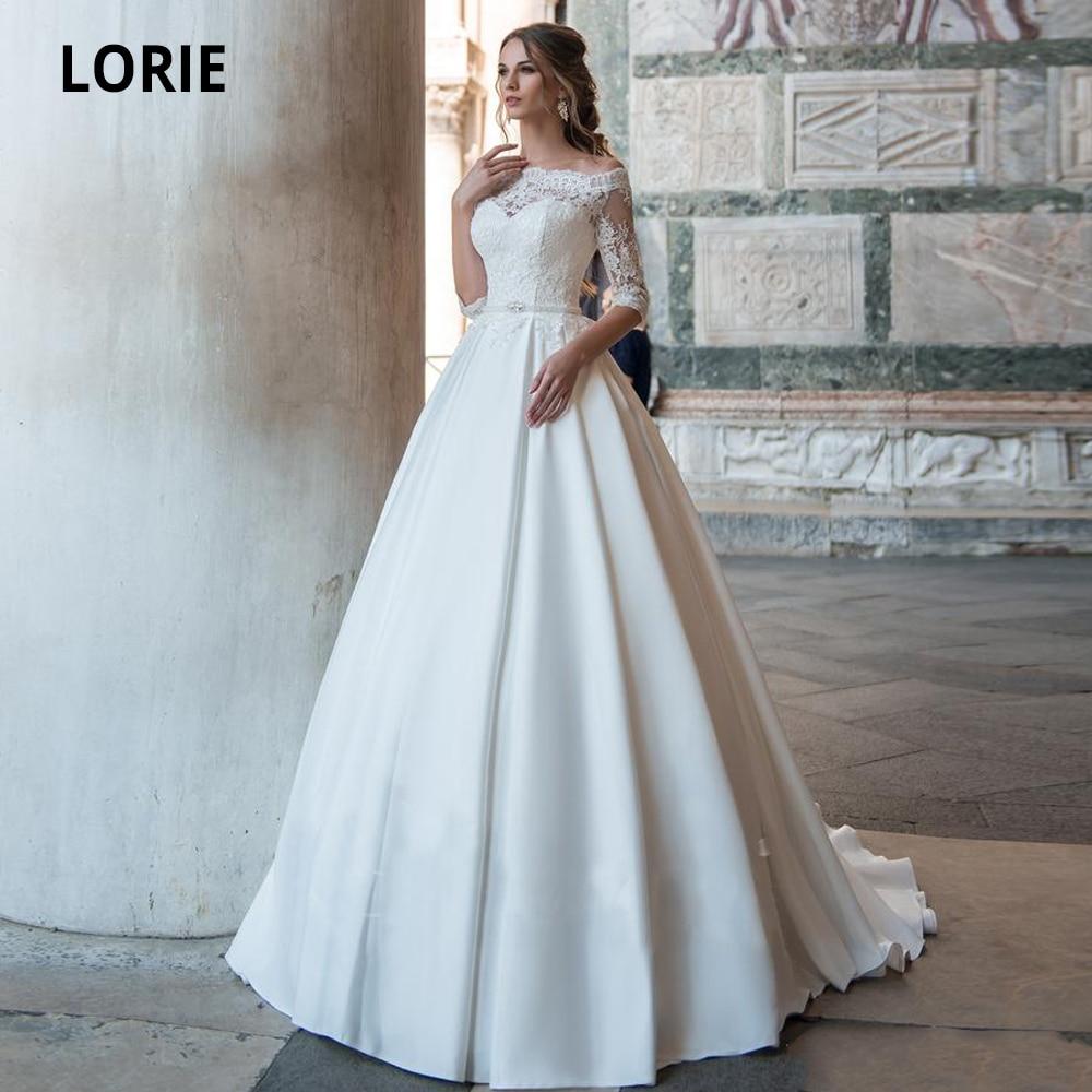 LORIE Elegant Lace Satin Wedding Dresses Off The Shoulder Half Sleeve Bridal Gown Beach Marriage 2020 Plus Size Vintage Belt