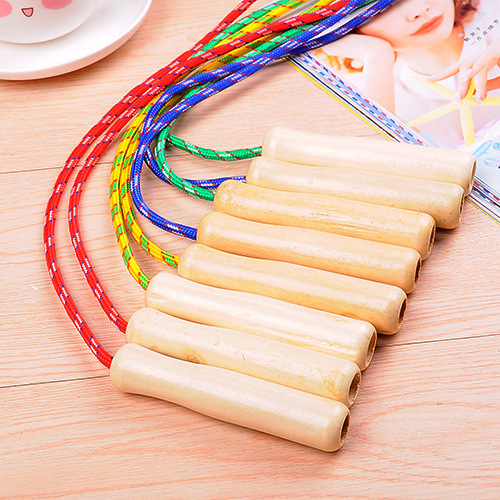 Empty Wooden Handle Cotton Rubber Rope Adult Women Collective Children Sports Fitness Collective Jump Rope Activity Collective