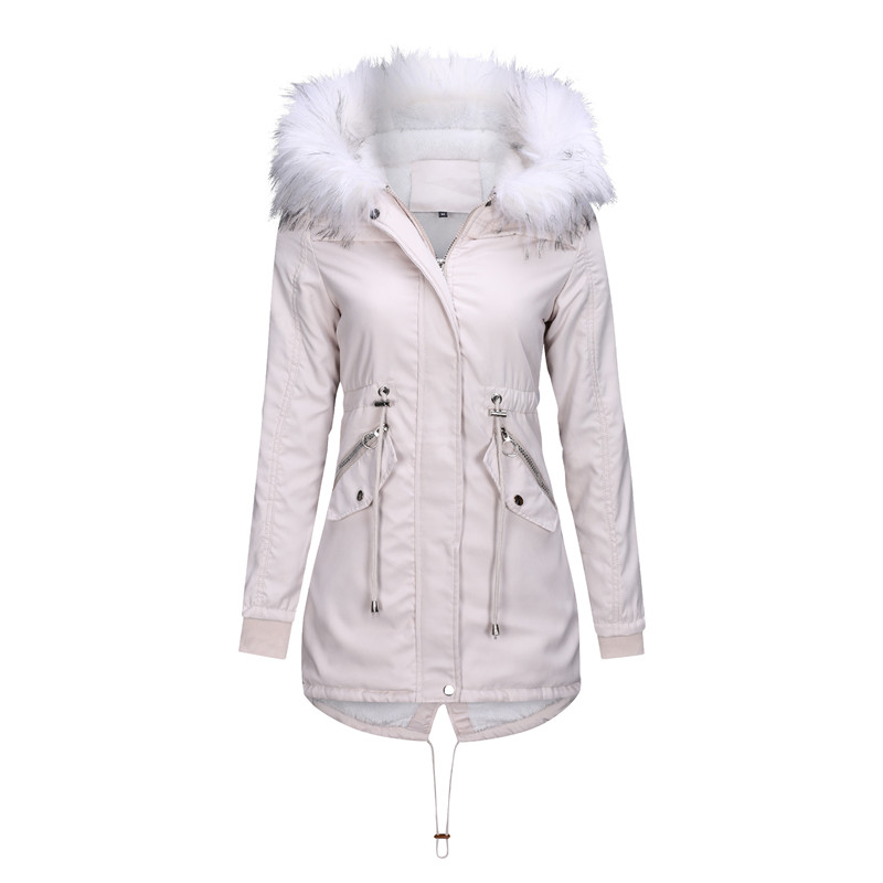 Winter women's cotton jacket fashion warm jacket plus velvet thick hooded coat parka Big fur collar title=